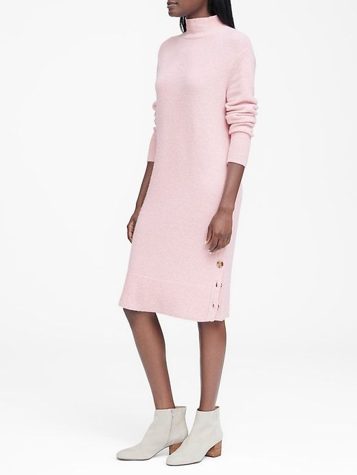 ab4481b4f1d Banana Republic Womens Turtleneck Sweater Dress With Button-Sides Blush Pink