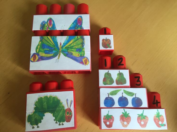 Simple puzzles for the younger children and also counting blocks using mega bloks. Shame I don't have longer mega bloks but you could always add singles or use multiple bloks for 5 oranges.