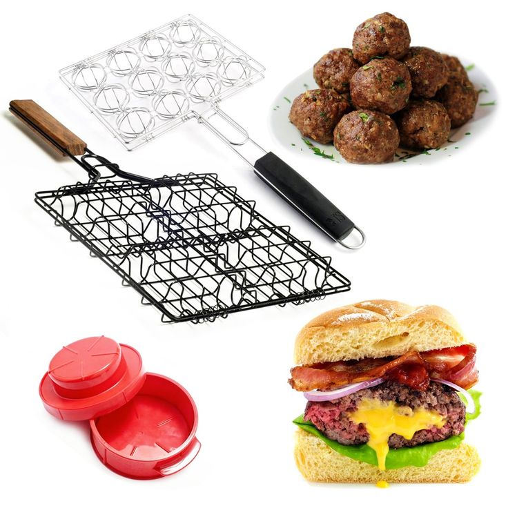 Grill mouthwatering stuffed burgers and meatballs with these grilling baskets and burger press set!
