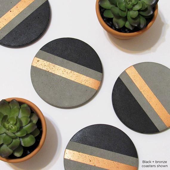 Concrete Coasters Modern Coasters Drink Coasters Cement Etsy Modern Coasters Geometric Coaster Concrete Crafts
