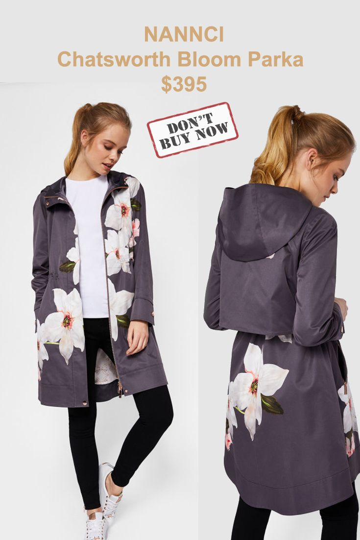 8e192b5b9 Ted Baker Chatsworth Bloom parka  395 Available Colors  GRAY Available Sizes   Ted Size 0