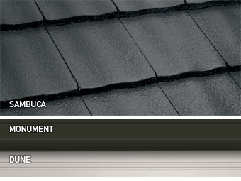 Our roof tiles and colour choices - CSR Monier's 'Traditional' profile roof tile, Colourbond's Monument for gutters, fascia and other trims, Colourbond's Dune (probably increased tint %) for dutch roof gable's and garage