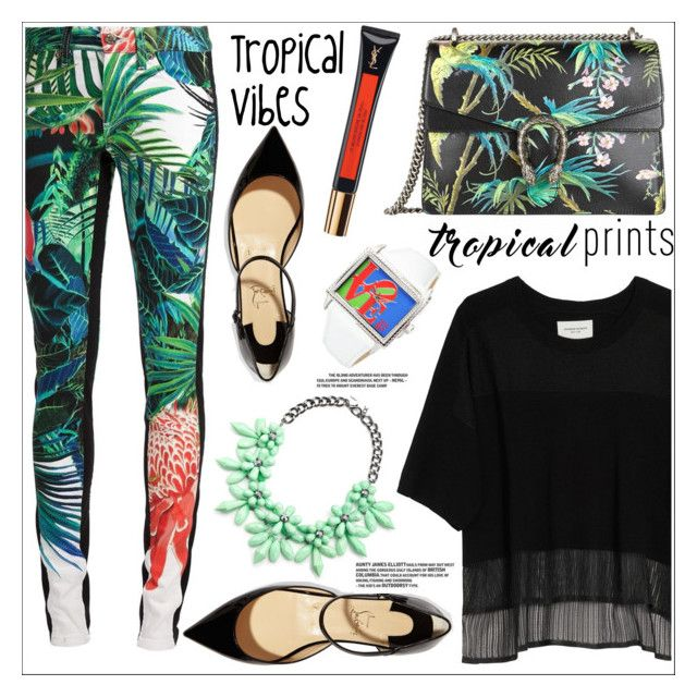 """Untitled #302"" by natalie1523 ❤ liked on Polyvore featuring Roberto Cavalli, Public School, Christian Louboutin, Slate & Willow, Gucci and Yves Saint Laurent"