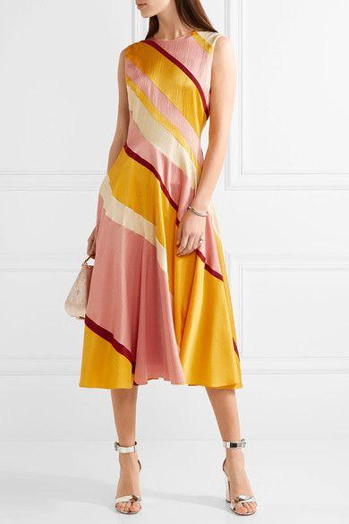 Roksanda - Lucine Striped Hammered Silk-satin Midi Dress - Yellow - UK14