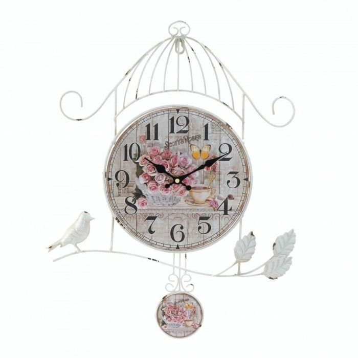 Birdcage Country Rose (Pink) Wall Clock
