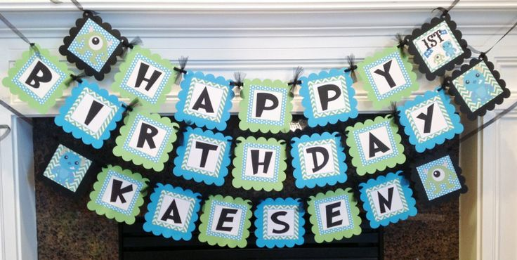 Monster Inc Birthday Banner  Lime Green by EmeraldCityPaperie, $28.00