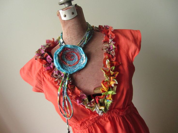 Upcycled Orange V Neck Dress, Tattered Ruffle Dress, Summer Day