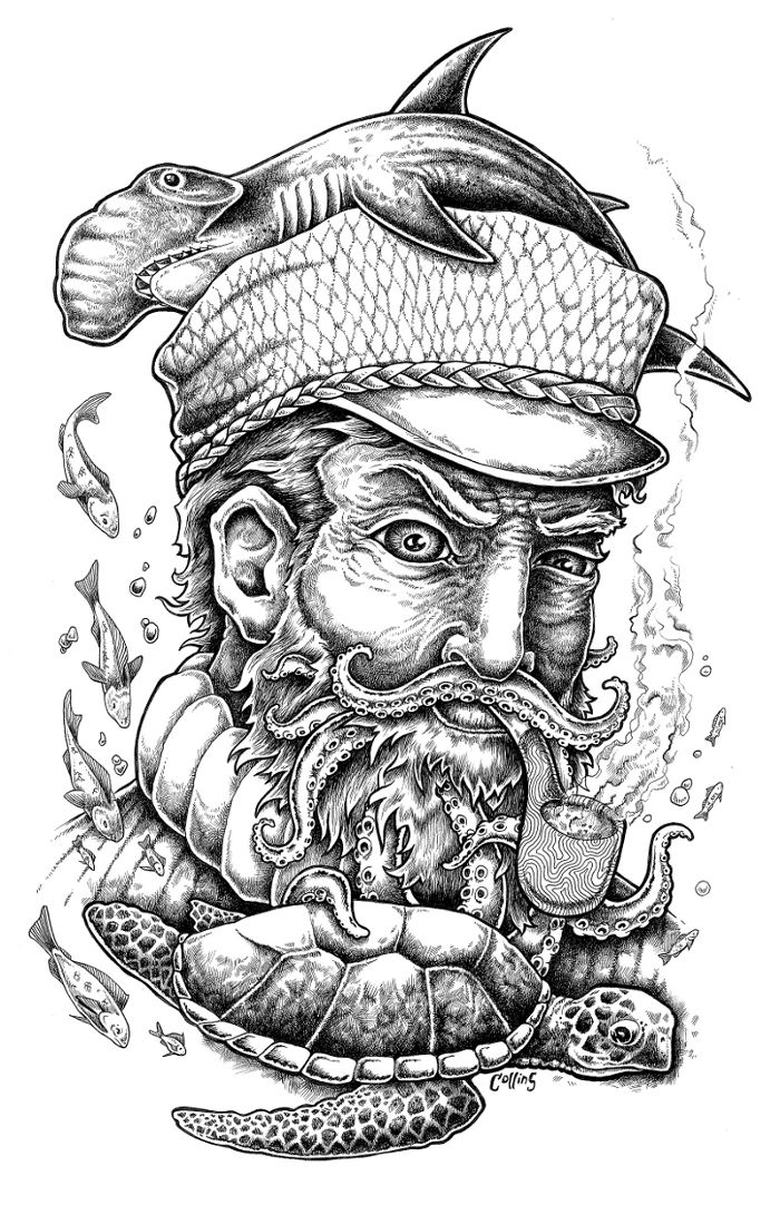Weathered Sailor Ink Drawing / Bryan Collins #ink #drawing