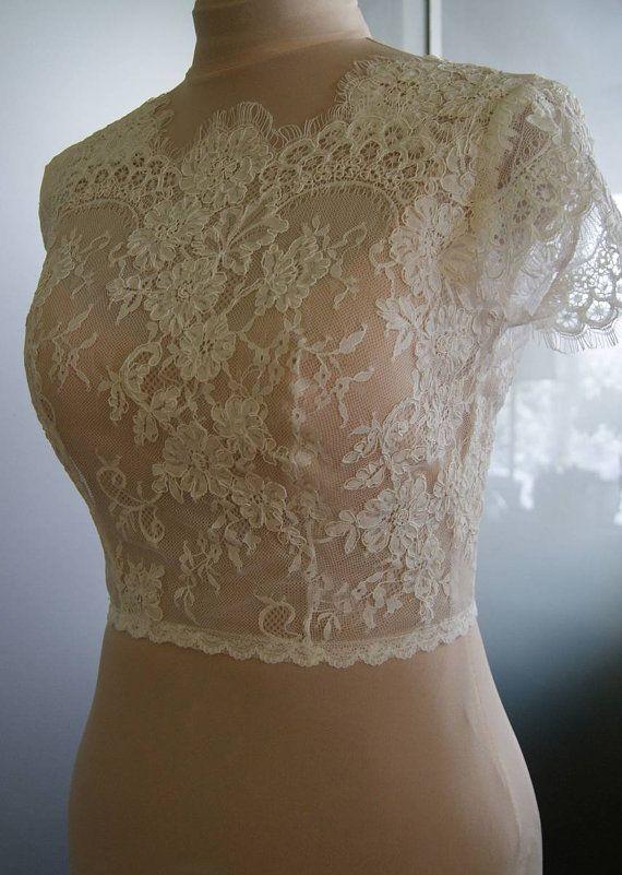 Wedding bolero-top-jacket with lacealencon sleeves . by TIFFARY