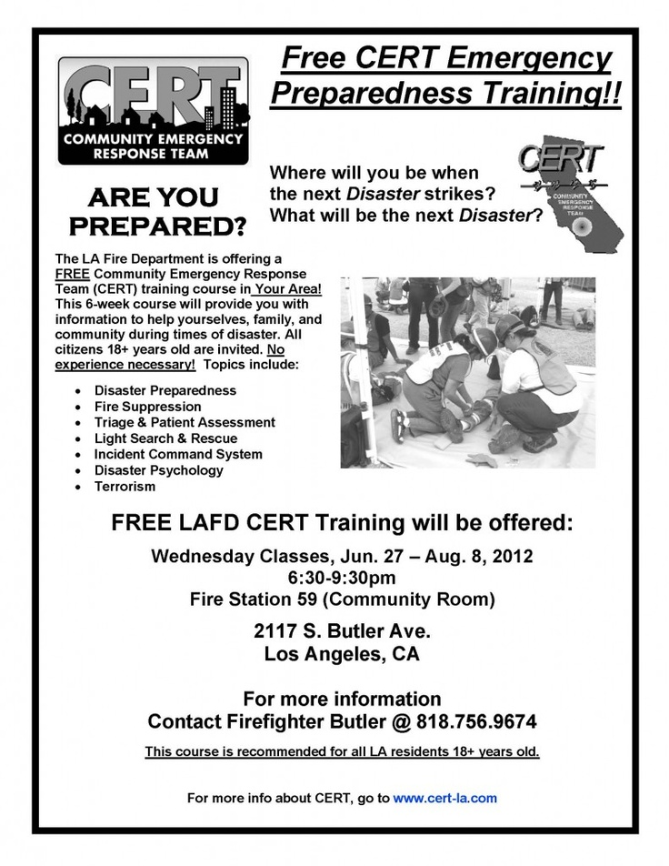FREE CERT Emergency Preparedness Training from the LAFD