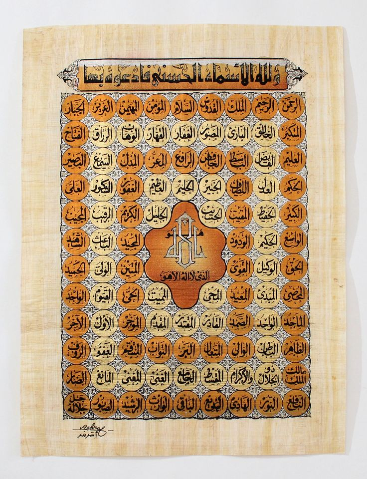 The 99 Names of Allah | Islamic Calligraphy Papyrus Painting Main Arkan Gallery