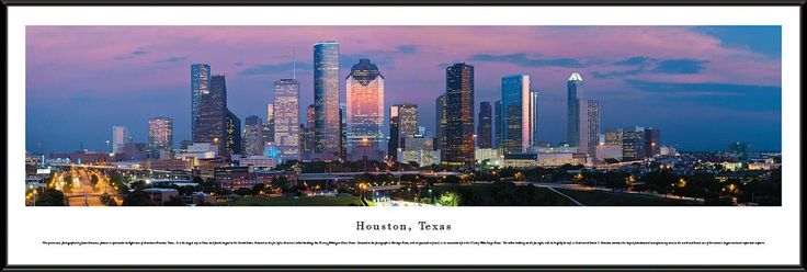 Houston Skyline Panoramic Picture Framed, Texas