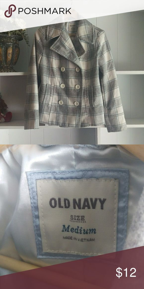 Old Navy Pea Coat This is a barely used Old Navy Pea Coat in a white/grey/blue plaid. It is in excellent condition and has a white silk lining. Old Navy Jackets & Coats Pea Coats