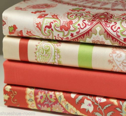 Lot-of-4-Fat-Quarters-100-Cotton-Orange-Solid-Paisley-Floral-Fabric-Craft-s-161