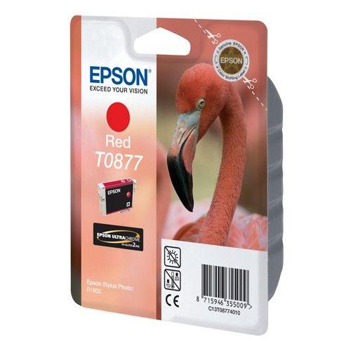 Epson T0877 inktcartridge rood (origineel)  |  Epson UltraChrome Hi-Gloss2 is de tweede generatie van de UltraChrome Hi-Gloss inkt technologie. Met UltraChrome Hi-Gloss2 is het afdrukken van foto's verbeterd: de nieuwe technologie zorgt voor een breder kleurbereik, meer natuurlijke huidtinten en een consistente kleurnauwkeurigheid met een gladde, glossy afwerking.