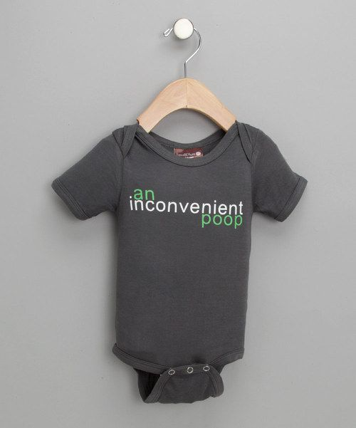 Take a look at the Small Plum Slate 'An Inconvenient Poop' Organic Bodysuit - Infant on #zulily today!