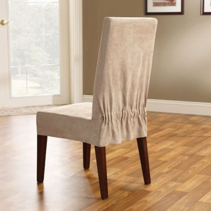 Slipcovers For Sofas Chairs And Loveseats Sure Fit Soft Suede Taupe Shorty Dining Room Chair Slipcover