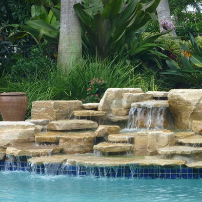 17 best images about swimming pool waterfalls on pinterest for Water garden pools