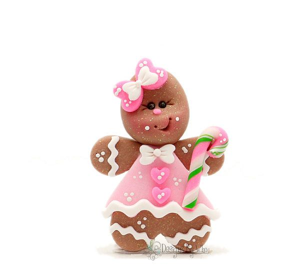 RTS Girly Gingerbread Girl Candy Cane Christmas Holiday Hair Bow Center Polymer Clay