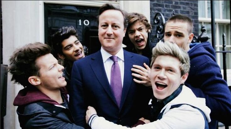 One Direction and England's primminster David Camron