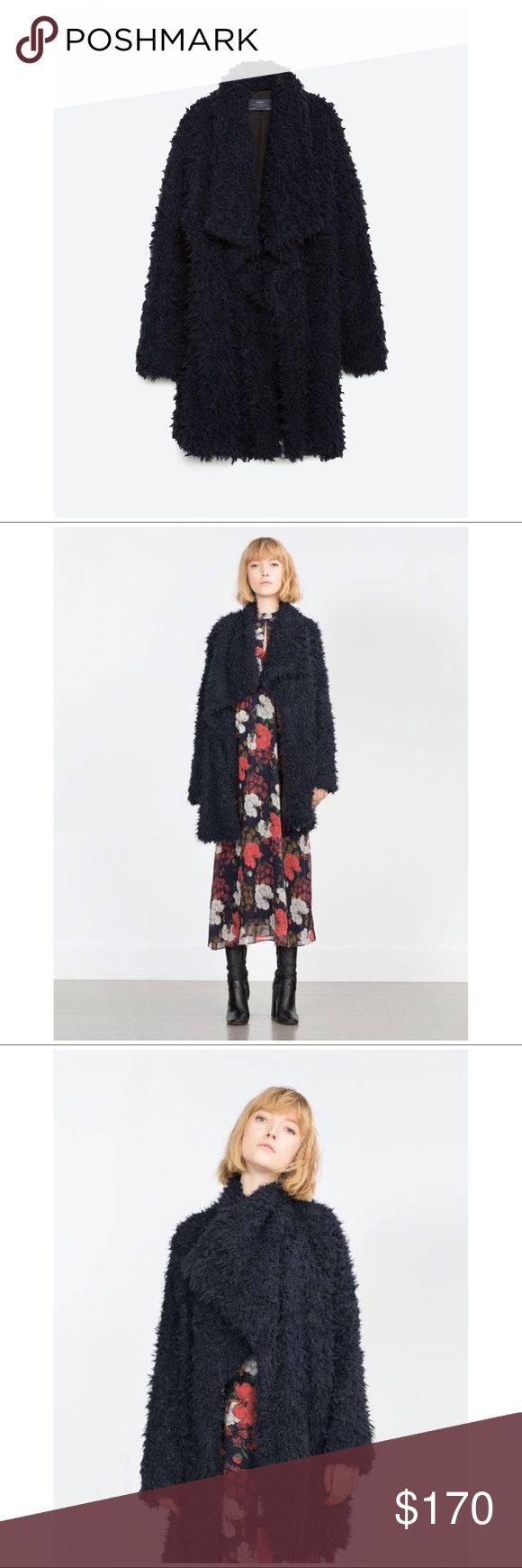 NWT ZARA BASIC 2015-2016 LONG FAUX FUR COAT SZ S This is a brand new long faux fur coat from the Zara Basic Collection. It was released during the 2015-2016 season, and has since been discontinued. It is very rare and very difficult to find.   Details include: long sleeves, long length, an open front style, and large front lapels. The color is a sort of black/dark navy blue. The faux fur is very soft and the inside of the coat is also lined.   Offers welcome!   #zara #zarabasic #fauxfur…
