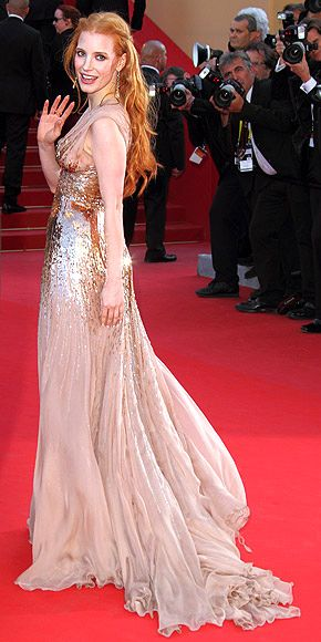 Jessica Chastain at Cannes - STUNNING: Chastain Photo, Cannes Film Festivals, Jessica Chastain Cannes, Red Hair, Evening Gowns, Golden Goddesses, Jessica Chastain Fashion, First Cane, Actresses