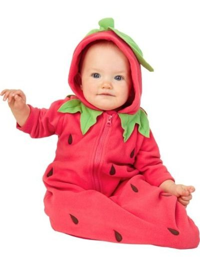 Old Navy - Strawberry Bunting.    As if the hilarity of seeing your child zipped into a bag wasn't enough, now you increase the lolz by forcing them into this strawberry Halloween costume.