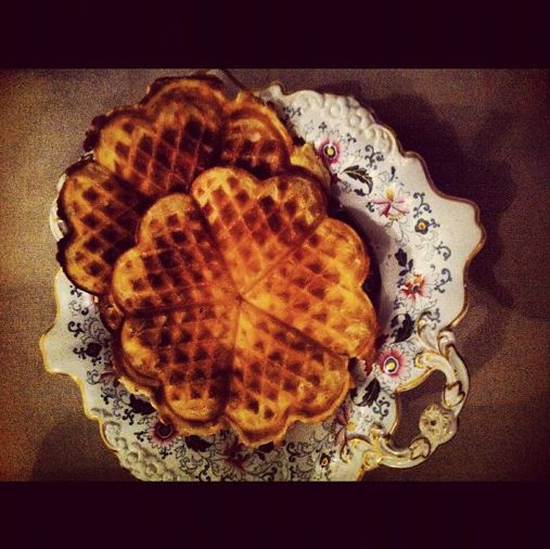 Christmas Norwegian waffles with nutmeg. My favorite to make on winter days. #cookingwithzac