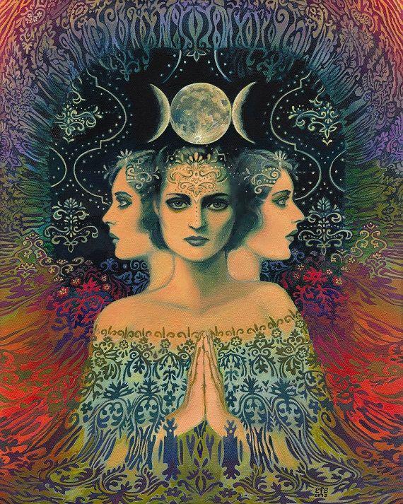 Luna a diosa del misterio psicodélico Tarot 8 x 10 impresión mitología gitana Bohemia diosa de arte