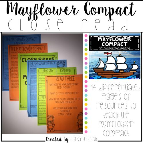 4 pages of resources to teach the Mayflower Compact. Included is:  -Original Mayflower Compact -Abridged Mayflower Compact -Three Original Mayflower Compact Close Reads -Three Abridged Mayflower Compact Close Reads -Three Full Page Close Read Question Pages -Three Quarter Page Close Read Question Pages