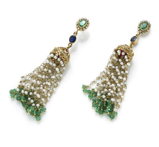 A pair of monghul style emerald, ruby, diamond, sapphire and seed pearl earrings