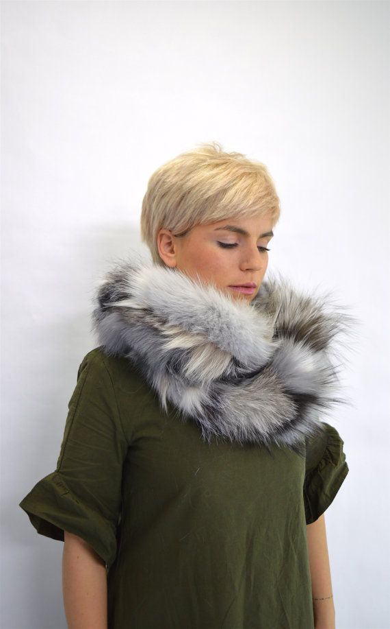 Real fur scarf fox fur scarf grey shade fox fur scarf by BeFur