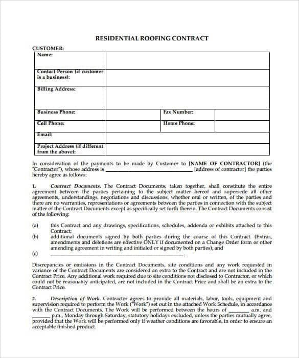 5 Roofing Contract Templates In 2020 Roofing Contract Contract