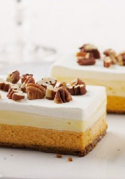 Layered Pumpkin Dessert – These layered pumpkin dessert bars were such a hit at one reviewer's home, she was asked to make them for every family gathering.
