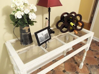 Antiqued Window Table, my favorite use of an old window