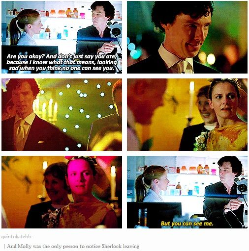 """#SherlockSpoilers -- """"The Reichenbach Fall"""" & """"The Sign of Three"""" -- Molly & Sherlock (gif set) — Aaand there go my feels again."""