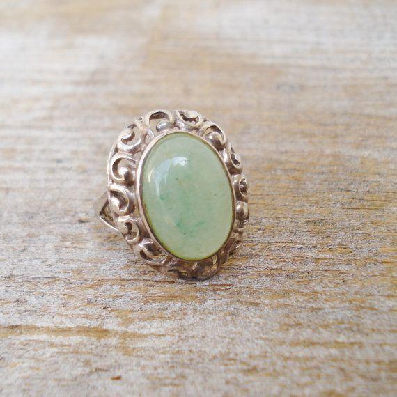 Vintage Sterling Jade Ring