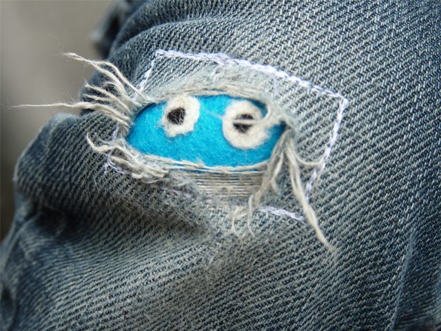 Would be so cut to patch a pair of jeans with little monsters!