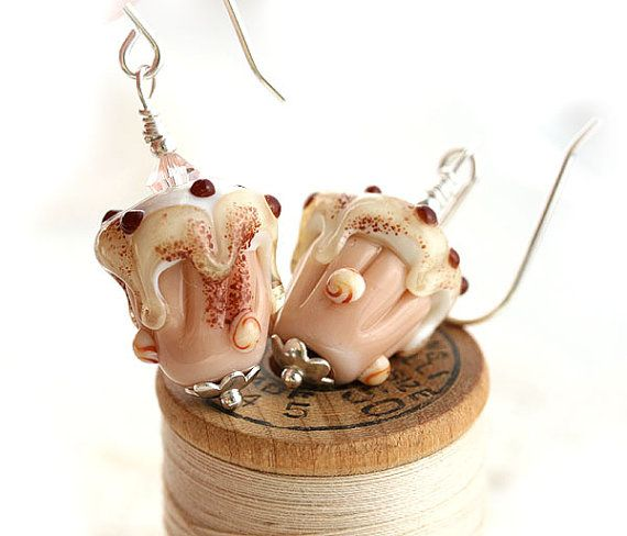 Cupcake Glass Earrings/Handmade Lampwork by MayaHoneyJewelry  #forsale #etsy #glass #handmade #accessories #beaded #homemade #bohemian #shopping #handcrafted #forgirl #jewelry #lampwork #fashion #mayahoney #dangle #silver #pendant #cupcake #sweet #cute