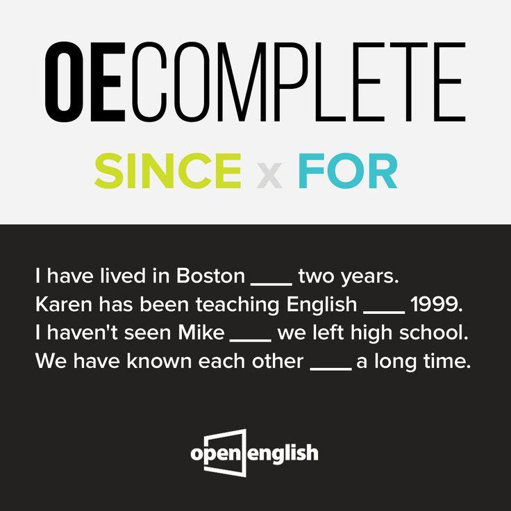 ''Since'' ve ''For'' karıştırılması çok kolay iki İngilizce kelime. Bakalım boşlukları doldurabilecek misin?  #OpenEnglish