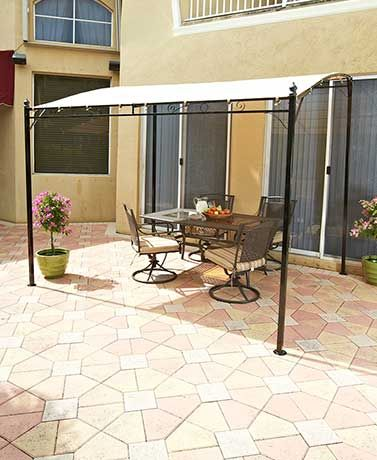 Add shade and privacy to make your patio more enjoyable with this Sunshade Awning Gazebo. Its classic look coordinates nicely with most decor styles. Has a blac