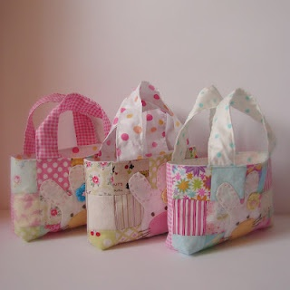 Cute Stuffed Bunnies and Carrying Bag from quilt squares!  So cute for Easter!