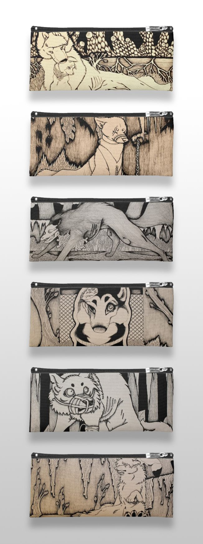 Black and white illustrated wolf and dog pencil cases #products #art #illustration #drawing