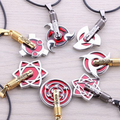Naruto Pendant Necklace Silver/Red
