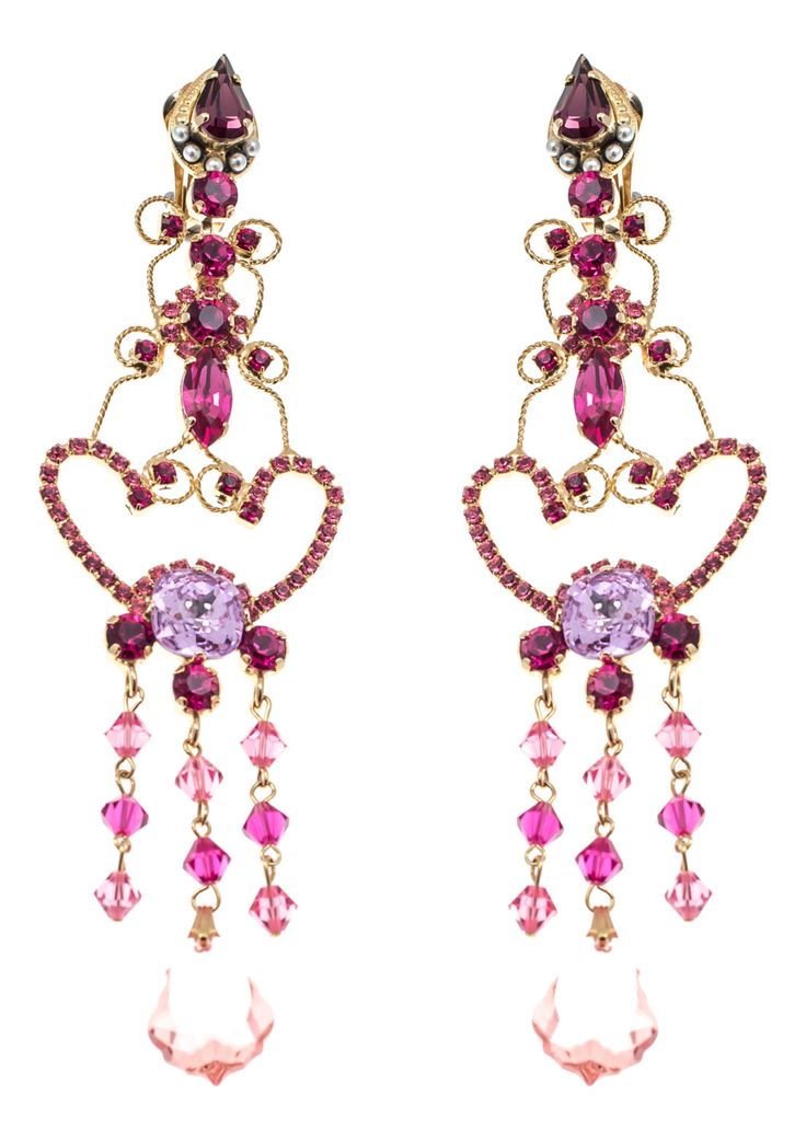 Gold chandelier earrings with pink Swarovski stones by Art Wear Dimitriadis on Etsy