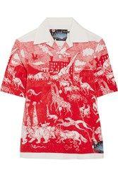 Prada Printed Cotton Poplin Shirt Red