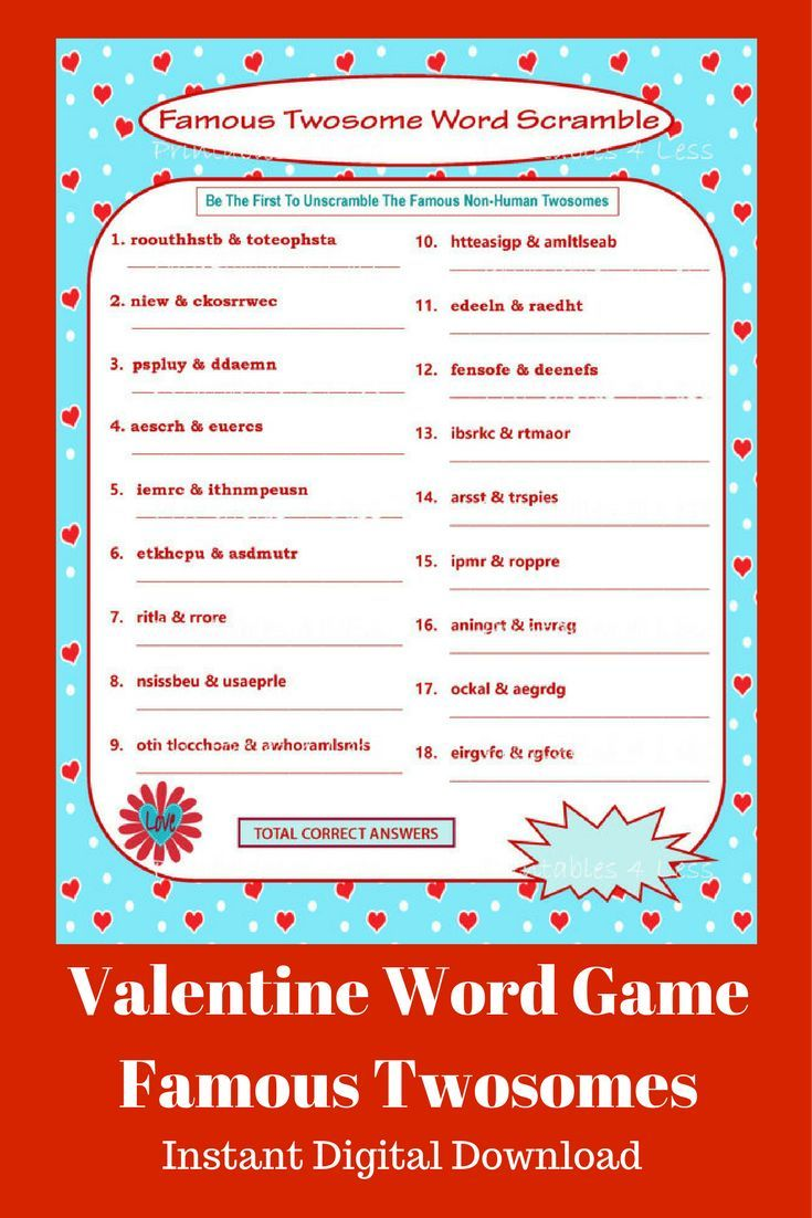 This is a fun Word Scramble game for Valentine\'s Parties, Famous ...