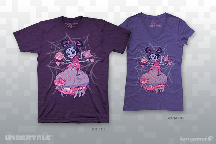 Don't look so blue, my deary~ ...I think purple is a better look on you!This officialUNDERTALE t-shirt was illustratedby Muffet's designer, Michelle Czajkowski, and printed on soft 50/50 shirts from American Apparel and District. Each one comes with a bonus sticker!GarmentUnisex XS-2XAmerican Apparel BB401Women's XS-4XDistrict Made DM108LUnisex 3X-6XPort & Company 55This shirt features our new favorite women's garments, from District Made—they use women's si...
