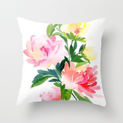 Chrysanthemums Bouquet Throw Pillow by Yao Cheng Design - $20.00