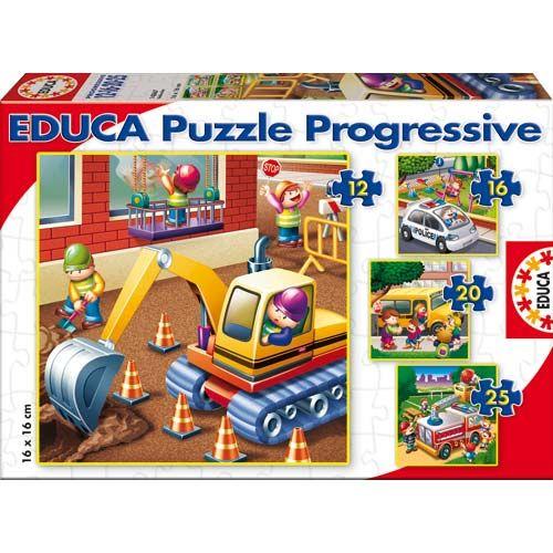 4 puzzles de 12, 16, 20 et 25 pièces sur le thème des véhicules pour avancer pas à pas et développer la concentration et la coordination main-oeil.